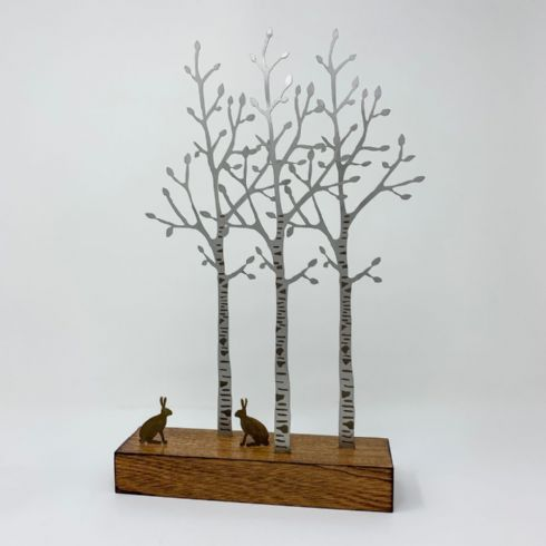 in klöver | ni design - David Mayne - 'Silver Birch with Hares' Steel & Wood Sculpture